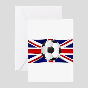 British Flag and Football Greeting Cards