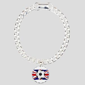 British Flag and Footbal Charm Bracelet, One Charm