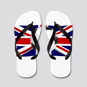 British Flag and Football Flip Flops