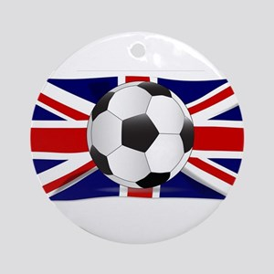 British Flag and Football Round Ornament