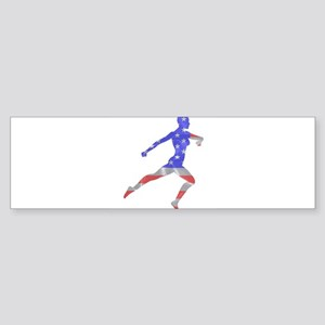 Stars and Stripes Runner Bumper Sticker