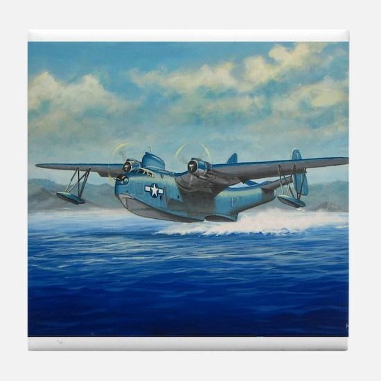 US Navy PBM Mariner Flying Boat Tile Coaster