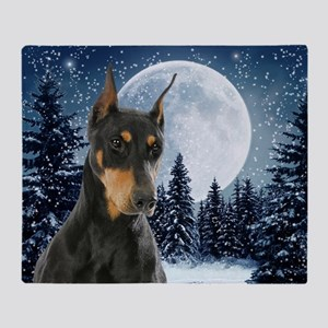 Winter Doberman Throw Blanket