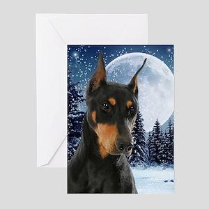 Winter Doberman Greeting Cards