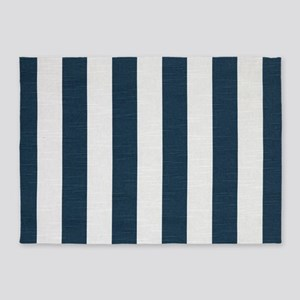 coastal blue nautical stripes 5'x7'Area Rug