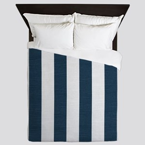 coastal blue nautical stripes Queen Duvet