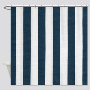 coastal blue nautical stripes Shower Curtain