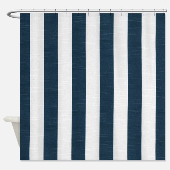 Coastal Blue Nautical Stripes Shower Curtain
