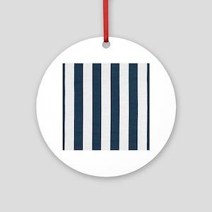 coastal blue nautical stripes Round Ornament