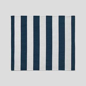 coastal blue nautical stripes Throw Blanket