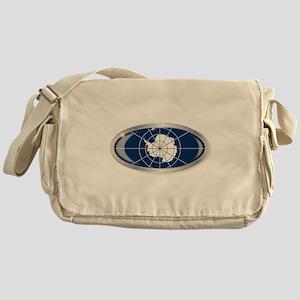 Antarctica Flag Oval Button Messenger Bag