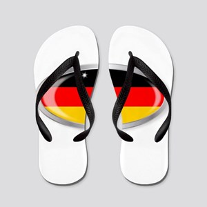 German Flag Oval Button Flip Flops