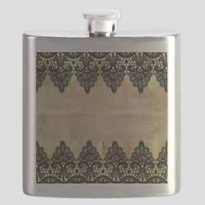 Black and gold Lace on grungy old paper- dec Flask