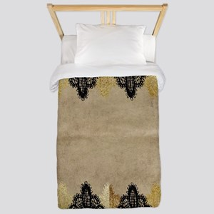 Black and gold Lace on grungy old paper Twin Duvet