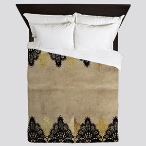 Black and gold Lace on grungy old pape Queen Duvet