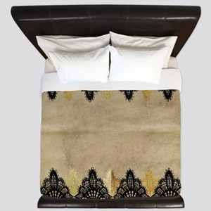 Black and gold Lace on grungy old paper King Duvet