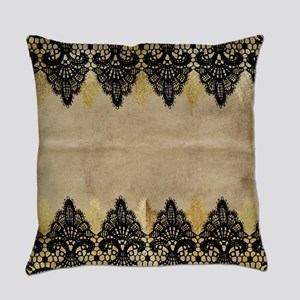 Black and gold Lace on grungy old Everyday Pillow