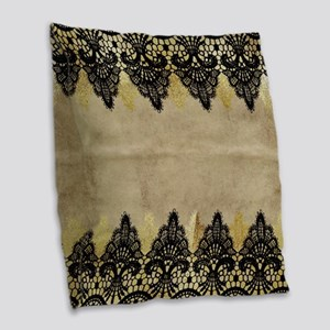 Black and gold Lace on grungy Burlap Throw Pillow