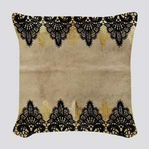 Black and gold Lace on grungy Woven Throw Pillow