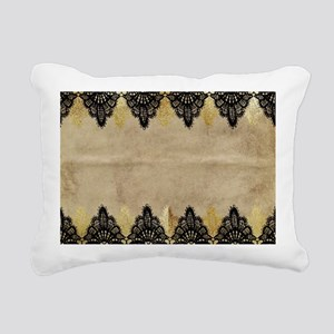 Black and gold Lace on g Rectangular Canvas Pillow