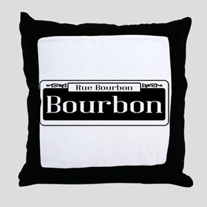 Rue Bourbon Street Sign Throw Pillow