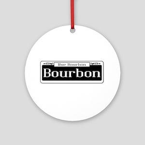 Rue Bourbon Street Sign Round Ornament