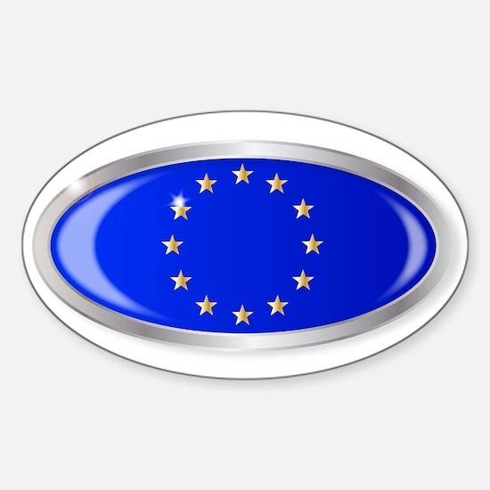 EU Flag Oval Button Decal