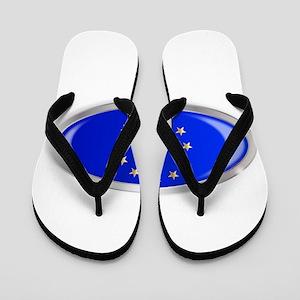 EU Flag Oval Button Flip Flops