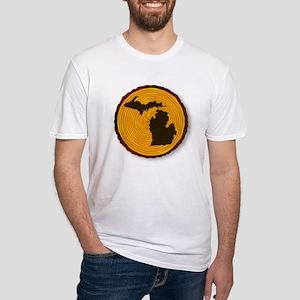 Michigan Map On Timber T-Shirt
