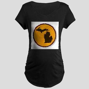Michigan Map On Timber Maternity T-Shirt