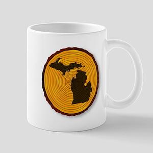 Michigan Map On Timber Mugs