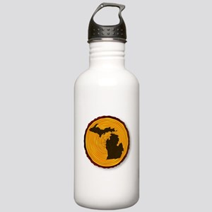 Michigan Map On Timber Stainless Water Bottle 1.0L