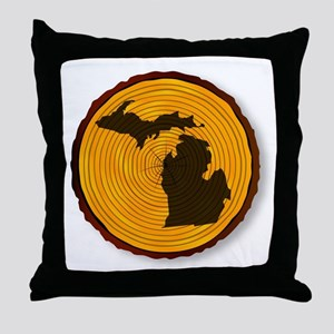 Michigan Map On Timber Throw Pillow