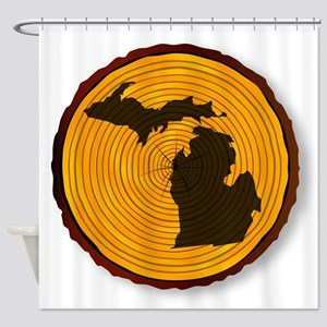 Michigan Map On Timber Shower Curtain
