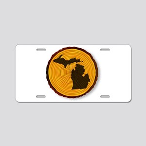 Michigan Map On Timber Aluminum License Plate