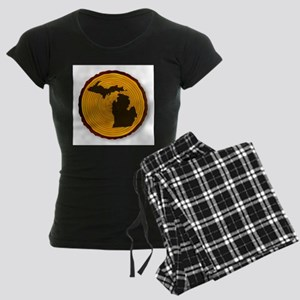 Michigan Map On Timber Women's Dark Pajamas