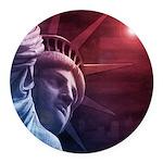 Patriotic Statue of Liberty Round Car Magnet