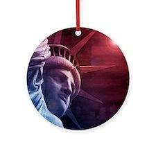 Patriotic Statue of Liberty Round Ornament