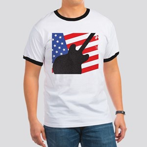 Guitar Silhouette Over Flag T-Shirt