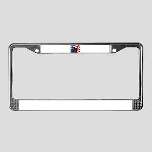 Guitar Silhouette Over Flag License Plate Frame