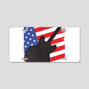 Guitar Silhouette Over Flag Aluminum License Plate