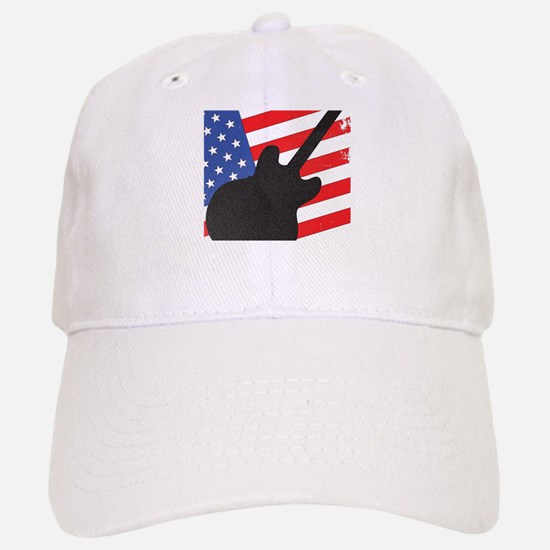 Guitar Silhouette Over Flag Baseball Baseball Cap