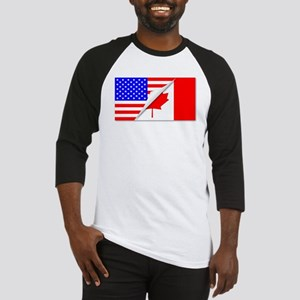 United States and Canada Flags Com Baseball Jersey