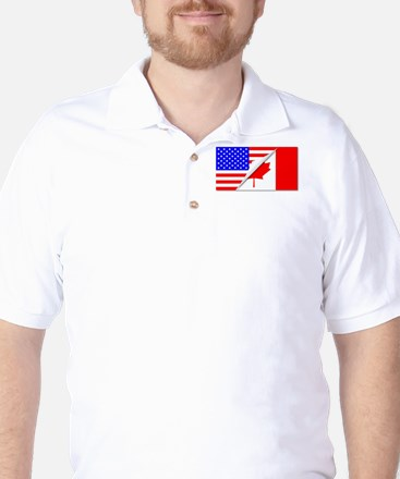 United States and Canada Flags Combined Golf Shirt