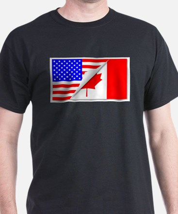 United States and Canada Flags Combined T-Shirt
