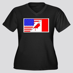 United States and Canada Flags C Plus Size T-Shirt