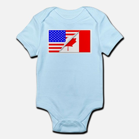 United States and Canada Flags Combined Body Suit