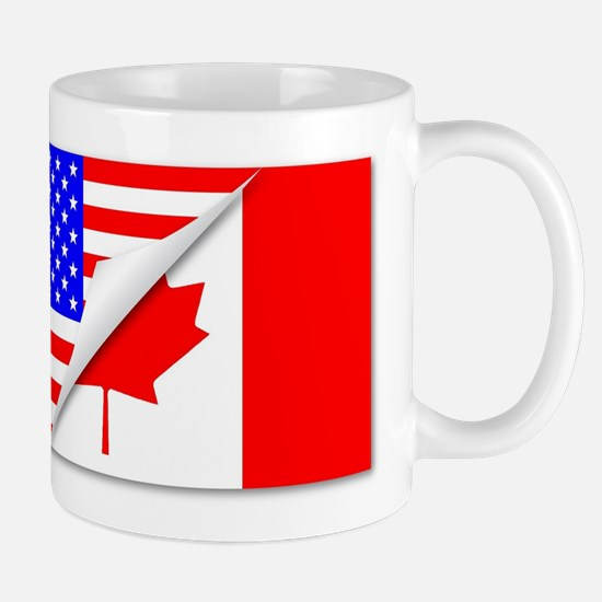 United States and Canada Flags Combined Mugs