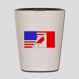United States and Canada Flags Combined Shot Glass