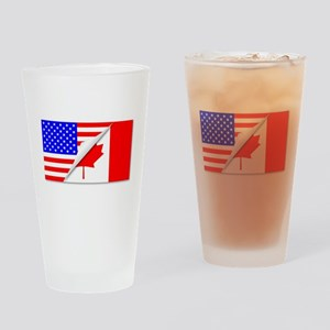 United States and Canada Flags Comb Drinking Glass
